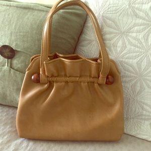Vintage • Medium Tan Faux Leather Purse Handbag